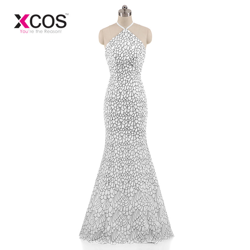XCOS Luxury White Mermaid Evening Dresses Halter Peacock Sleeveless Pattern Crystal Sexy Evening Gown 2018 Real Photo