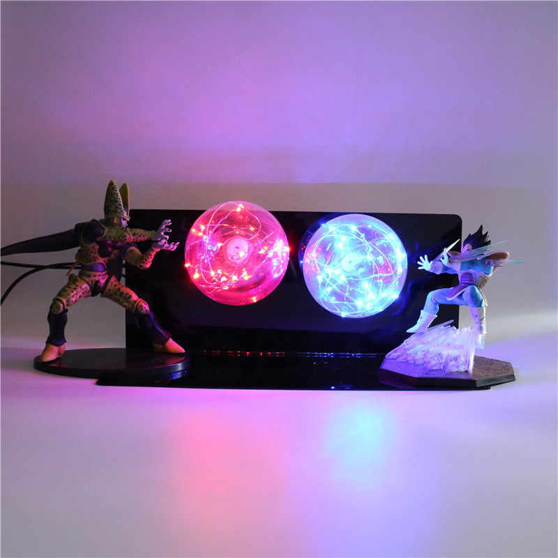 Dragon Ball Z Figuras de Ação vs Célula Vegeta Super Saiyan Modelo Toy Collectible Figurine do Anime Dragon Ball Z PVC LEVOU luz da noite