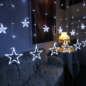 Image 5 - נופש תאורת 4 M 138LED חג המולד אורות חיצוני פתית שלג פיות וילון LED מחרוזת אור לבית מסיבת השנה החדשה קישוט