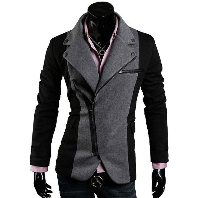 Promotion men's stylish premium casual Jackets Men irregular zippered jacket fashion silm fit Blazers for Male S-XXL black/gray