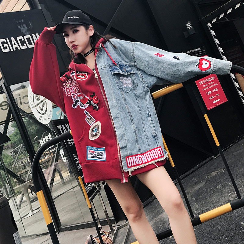 2019 Autumn Loose Casual Denim Jacket Hooded Women Patchs Embroidery Punk Style Red and Blue Jacket Oversize