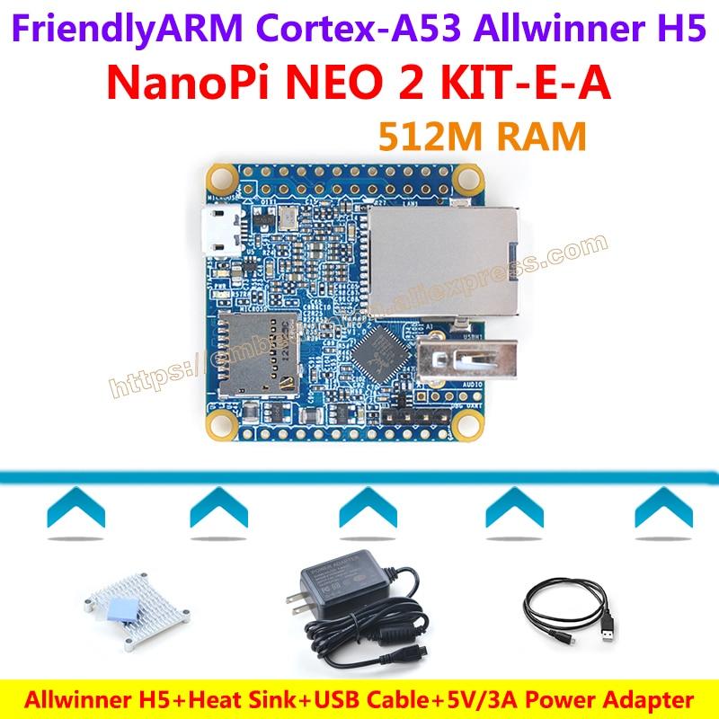 FriendlyARM NanoPi NEO2 Development Board(512MB RAM)+Heatsink+5V/3A Power Adapter+USB Cable=NanoPi NEO 2 KIT-E-A