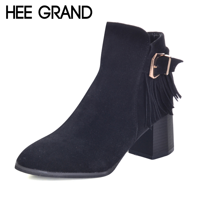 HEE GRAND Fringe Zipper Women Ankle Boots 2017 Winter Faux Suede High Heels Boots Ladies Fashion Pionted toe Shoes Woman XWX6006