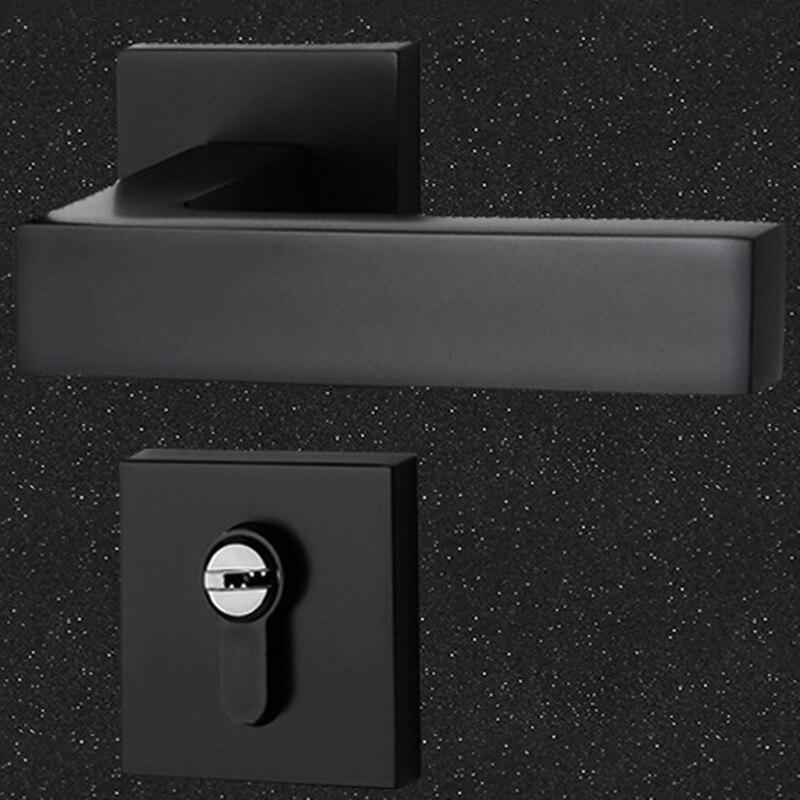 Black Mute Door Lock Set Reversal Door Lock Kit for 35-50mm Doors Zinc Alloy Handle MDJ998Black Mute Door Lock Set Reversal Door Lock Kit for 35-50mm Doors Zinc Alloy Handle MDJ998