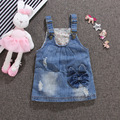2016 Summer Baby dress Girls clothes Lovely light blue toddler girls washed denim strap dress bow infant party dress for newborn