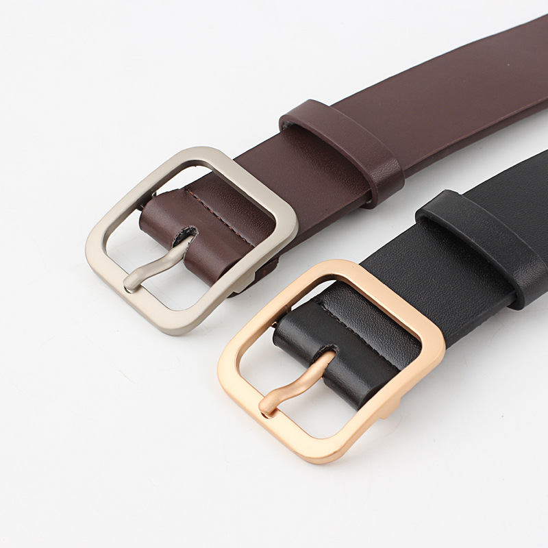 Women's Leather Belt Gold Grind Arenaceous Buckle Jeans Belts For Women Fashion Students Casual Waist Belt Trousers Harajuku