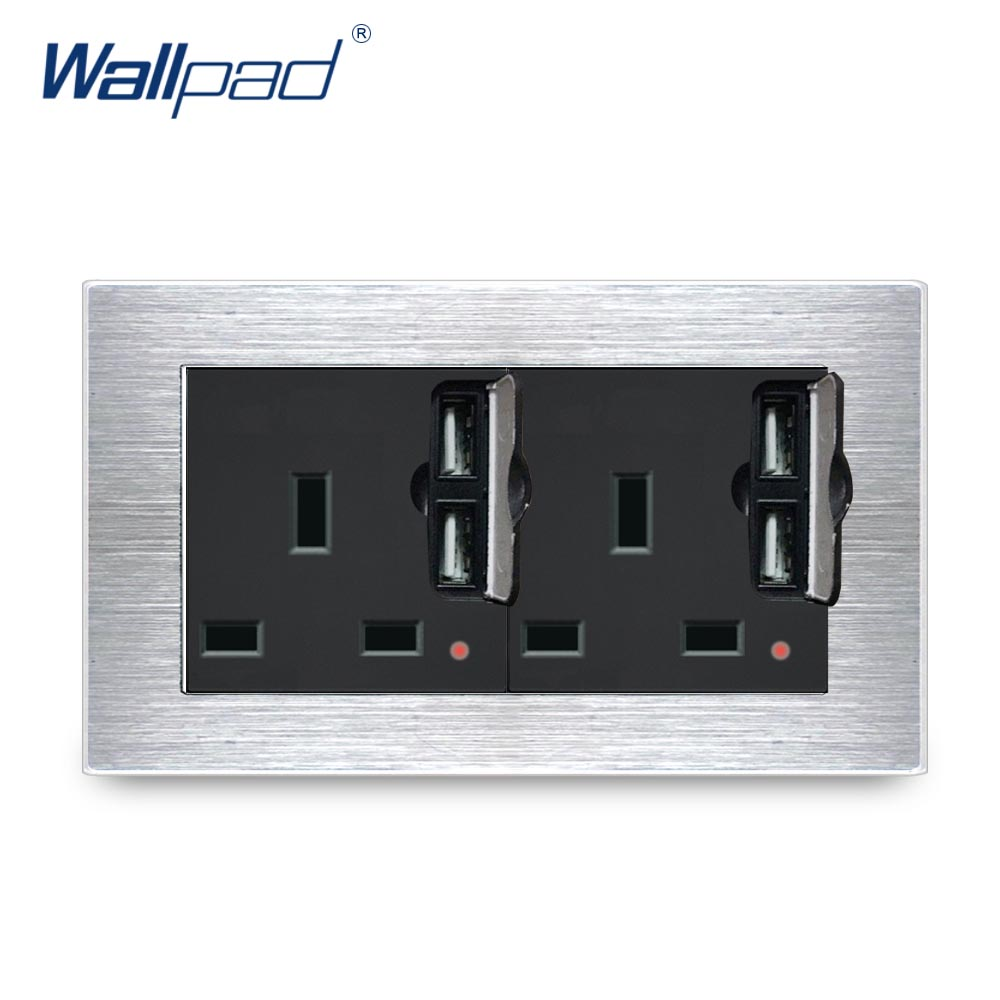 Double UK 13A Socket With 2 USB Charger Wallpad Luxury Wall Outlet Satin Metal Panel 146*86mm Wall Power Outlet Schuko british mk british unit power supply socket metal 13a power outlet british standard unit socket