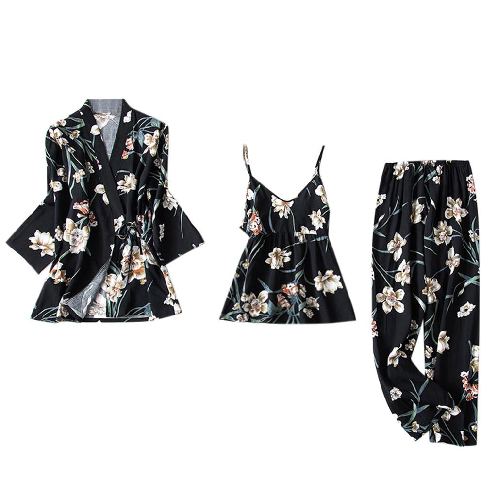 Women's Pajamas Silk Floral Overall Print 3Pcs Pajama Set Satin Pyjamas Sexy Lace Nightie Sleepwear Home Clothes 6.19