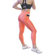 New Style Orange Mesh patchwork Pants Mobile Phone Pockets Slim Fit Leggings Female High Waist Trousers