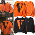Vlone virgil abloh off white Hip Hop Woman Man Casual Cool Rocky Orange Pullover Long Sleeve V-Letter Cotton Sweatshirt Hoodies