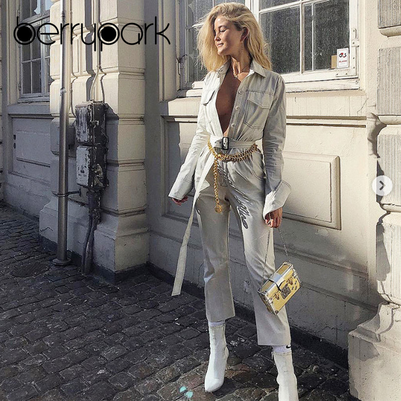 dc545ecabd17 BerryPark High Street White Denim Jumpsuits 2018 Winter Fashion Women Turn  Down Collar Overalls Long Jeans Rompers with Belt-in Jumpsuits from Women s  ...