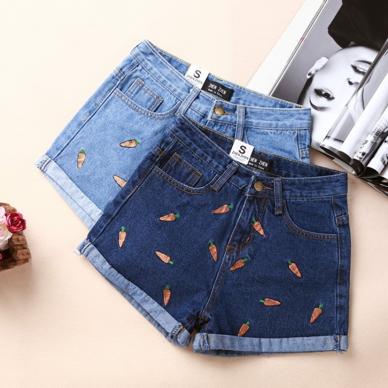 New 2016 spring and summer Style chili embroidered hem roll-up Lady Denim Shorts Casual Women Blue Short Jeans Out wear Z2280