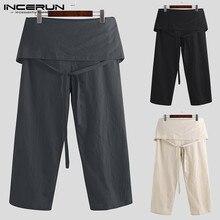 Мужские тайские штаны для рыбалки, хлопковые свободные штаны, модные мужские однотонные повседневные штаны на шнуровке, Pantalon Hombre 5XL INCERUN