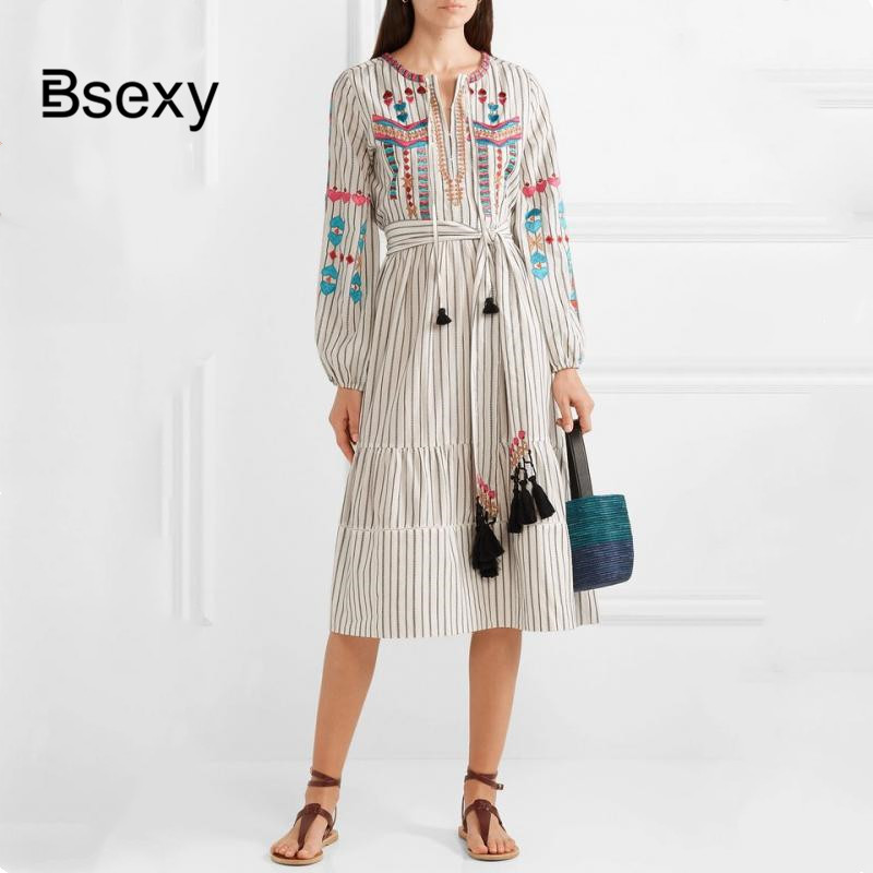 Bohemian Dress For Women 2019 Summer Floral Embroidered Long Sleeve Striped Cotton Dress Loose Long Dress female vestidos playa image