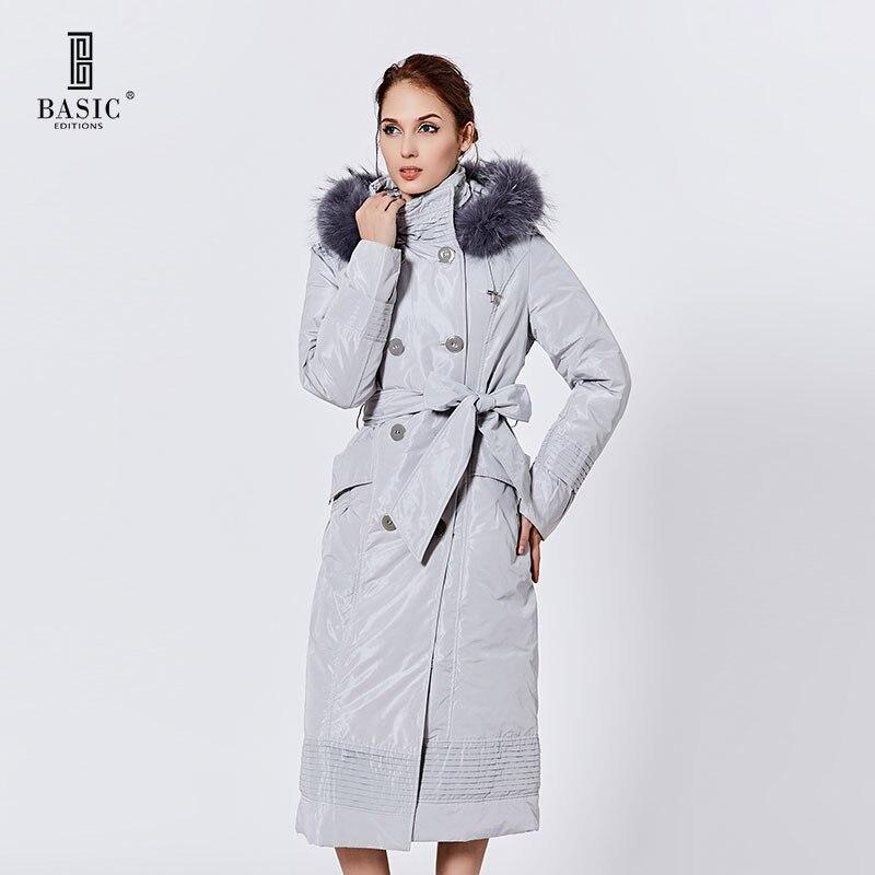 Basic Editions Women Winter Extra Long Slim Fit Racoon Fur Hood Belt Parka Down Coat Jacket - 9SY-10136A