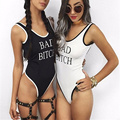 Harajuku Punk Style Sexy Summer Women Jumpsuit Bad Bitch Funny Words Print Backless Rompers