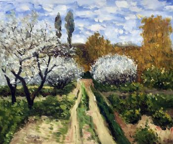Handpainted Claude Monet Landscape Wall Art Trees in Bloom Painting Frameless Canvas Oil Painting Living Room Decor
