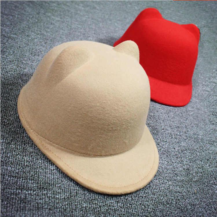 Çocuklar sihirli şapka hayvan kedi kulak çocuk kış şapka atlı yün şapka kız kap Vintage sıcak güneşlikli kep karakter yenilik