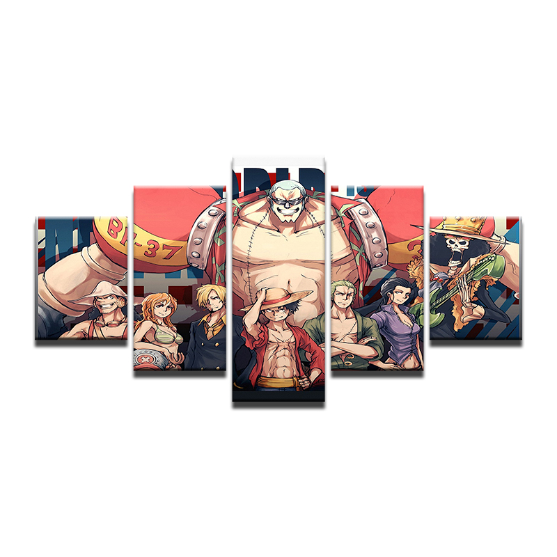 5 панелей стены Книги по искусству анимации Одна деталь Фрэнки современный Картины стены Книги по искусству холст Картины Плакат оформлена