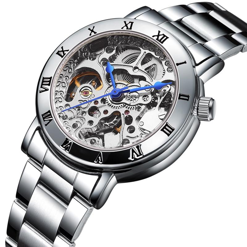 лучшая цена Fashion Hollow Mechanical Watch Automatic Woman Watch Roman Scale Top Brand Luxury Ladies Sports Watches Waterproof Female Clock