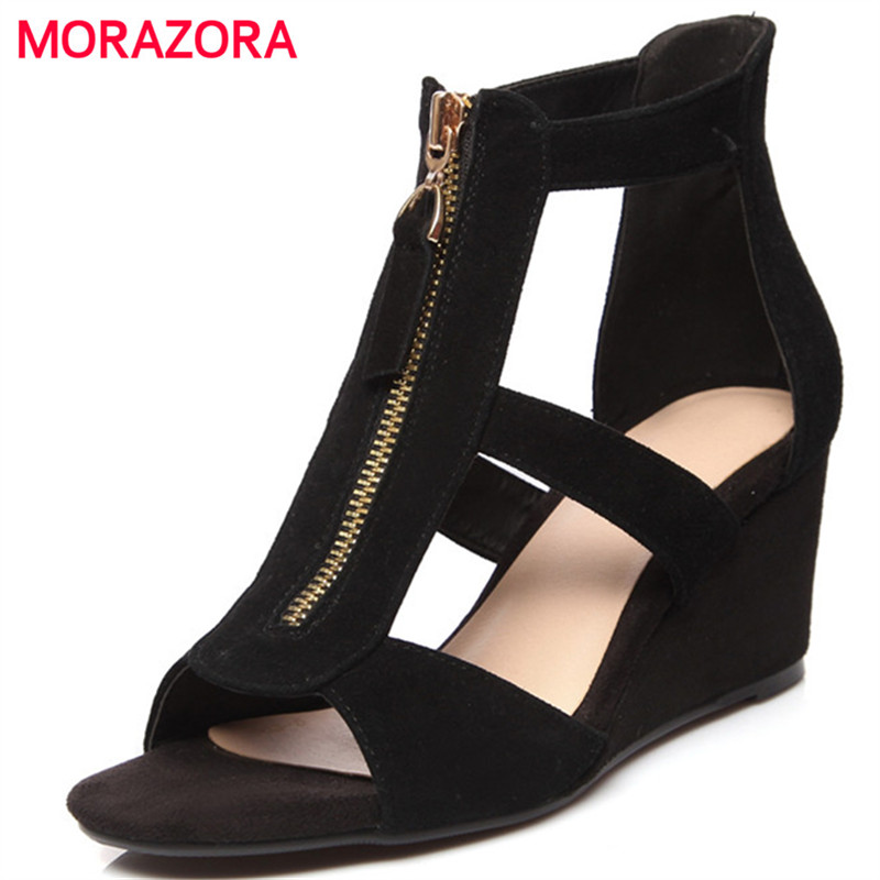 MORAZORA Kid suede leather wedges shoes woman solid black zip summer shoes open-toed women sandals fashion shoes new women sandals low heel wedges summer casual single shoes woman sandal fashion soft sandals free shipping