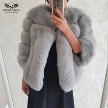 Tatyana Furclub Real Fur Coat Short Jacket Natural Fox Woman Full Pelt  Warm Coats Unique Winter Casual