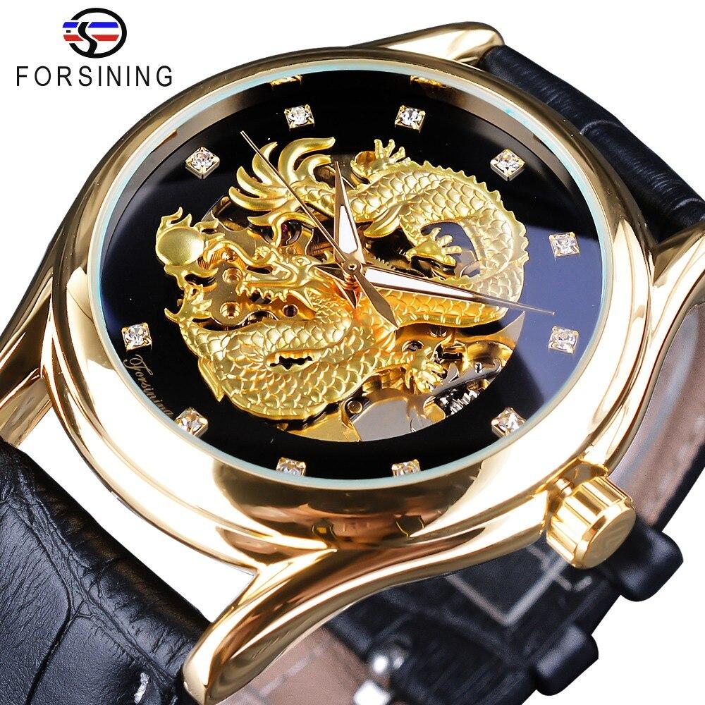Forsining Diamond Display Dragon Golden Display Luminous Hand Transparent Men Watch Top Brand Luxury Waterproof font