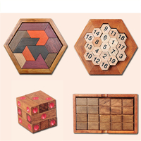Tangram Wooden Jigsaw Puzzle For Kids Wood Educational Scrabble Wood Blanks Toy Fun Fidget Cube Toys