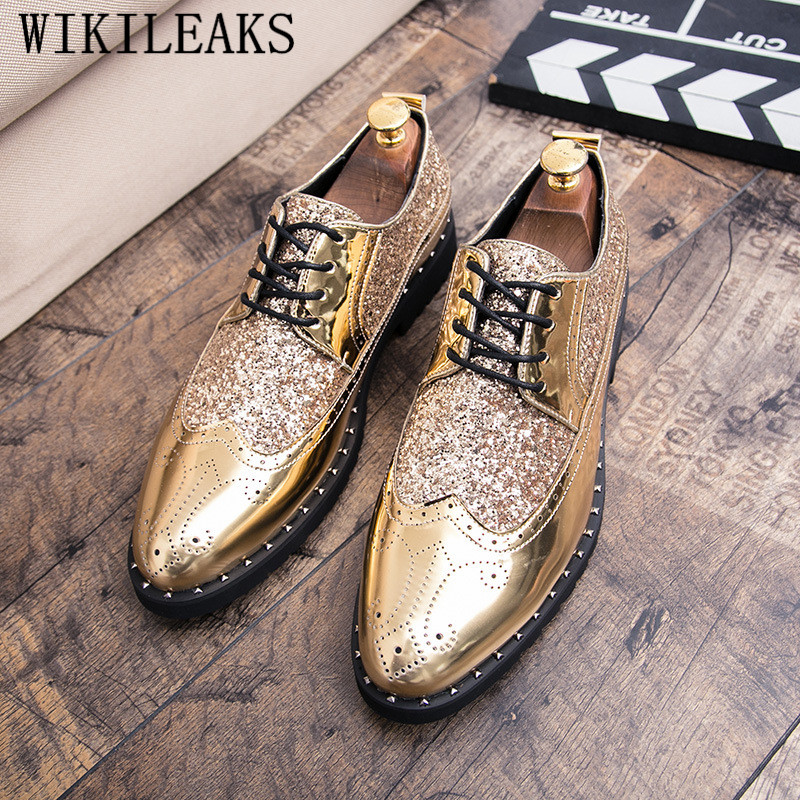 new luxury brand coiffeur gold brogue oxford shoes for men italian formal wedding dress footwear male patent leather bling shoes цены онлайн