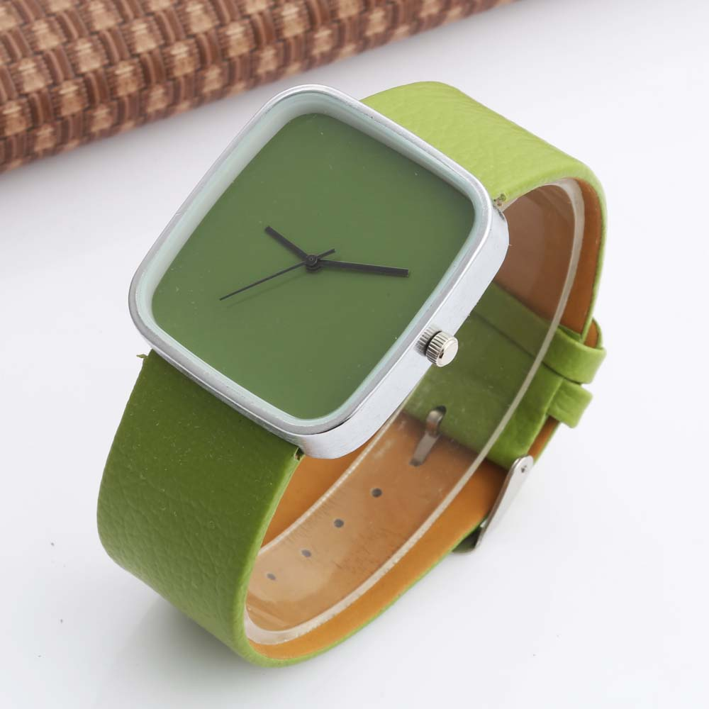 WOMAGE Watch Fashion Girls Watches Green Leather Watch Women Square Watches Ladies Watches Quartz Montre Enfant Relogio Feminino