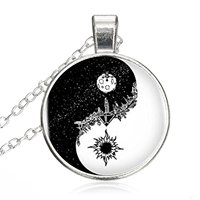 Antik Güneş Ay Yuvarlak Kolye Cam Kolye Gerdanlık Gümüş Kaplama Zincir Şifa Muska