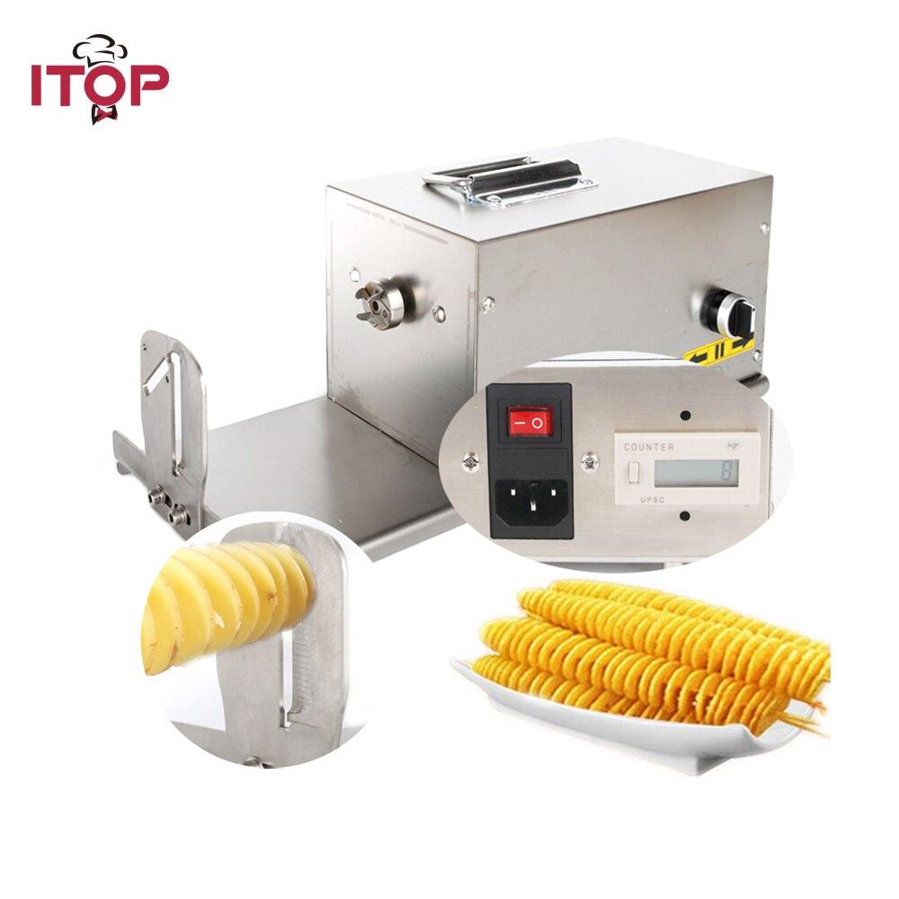 ITOP 110 V 220 V Elektrische Verdrehte Kartoffelschneider Hot Dog Kartoffel Automatische Kommerziellen Spirale Edelstahl Gemüseschneider HE03