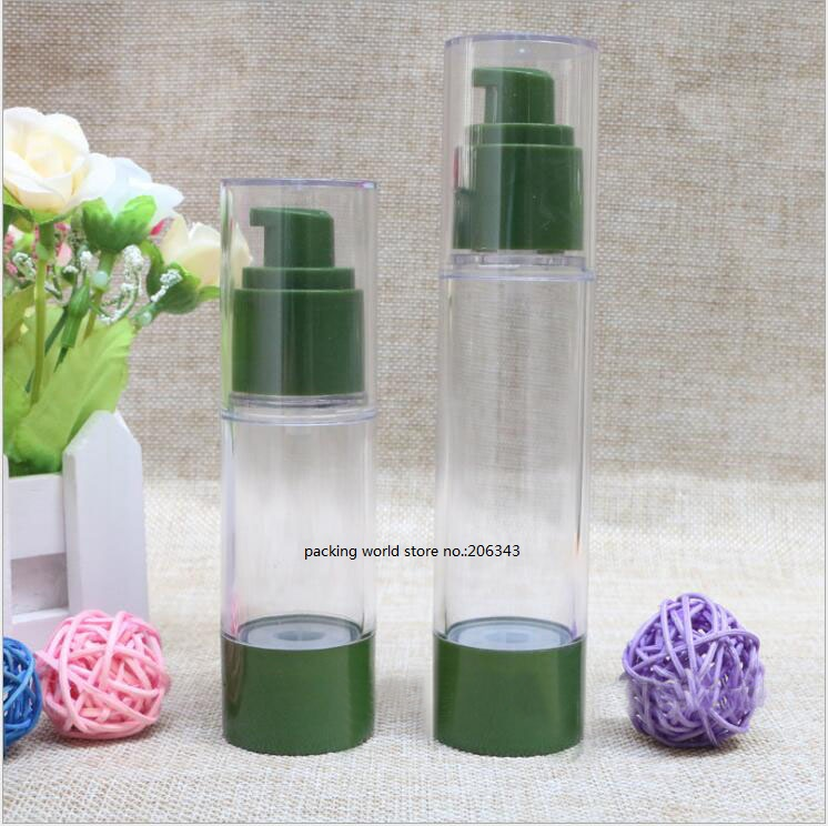 30ml green plastic airless pump bottle for lotion emulsion serum liquid foundation essence skin care cosmetic
