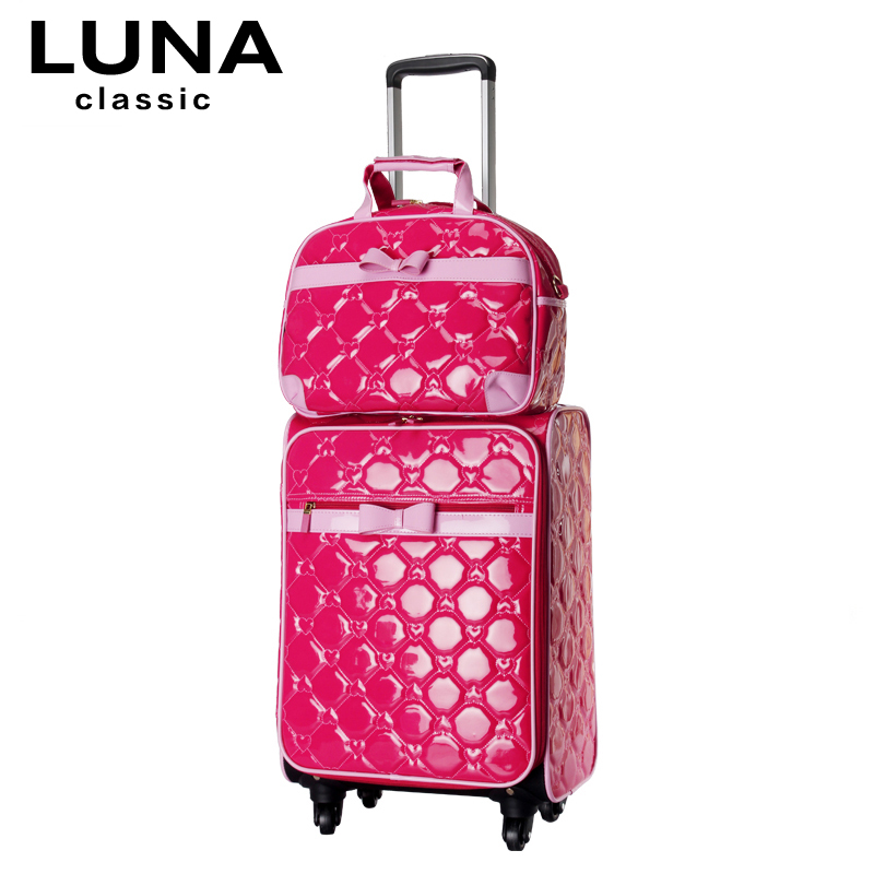 Universal wheels travel bag suitcase peach heart small bag picture trolley luggage bag female14 19 24 luggage sets