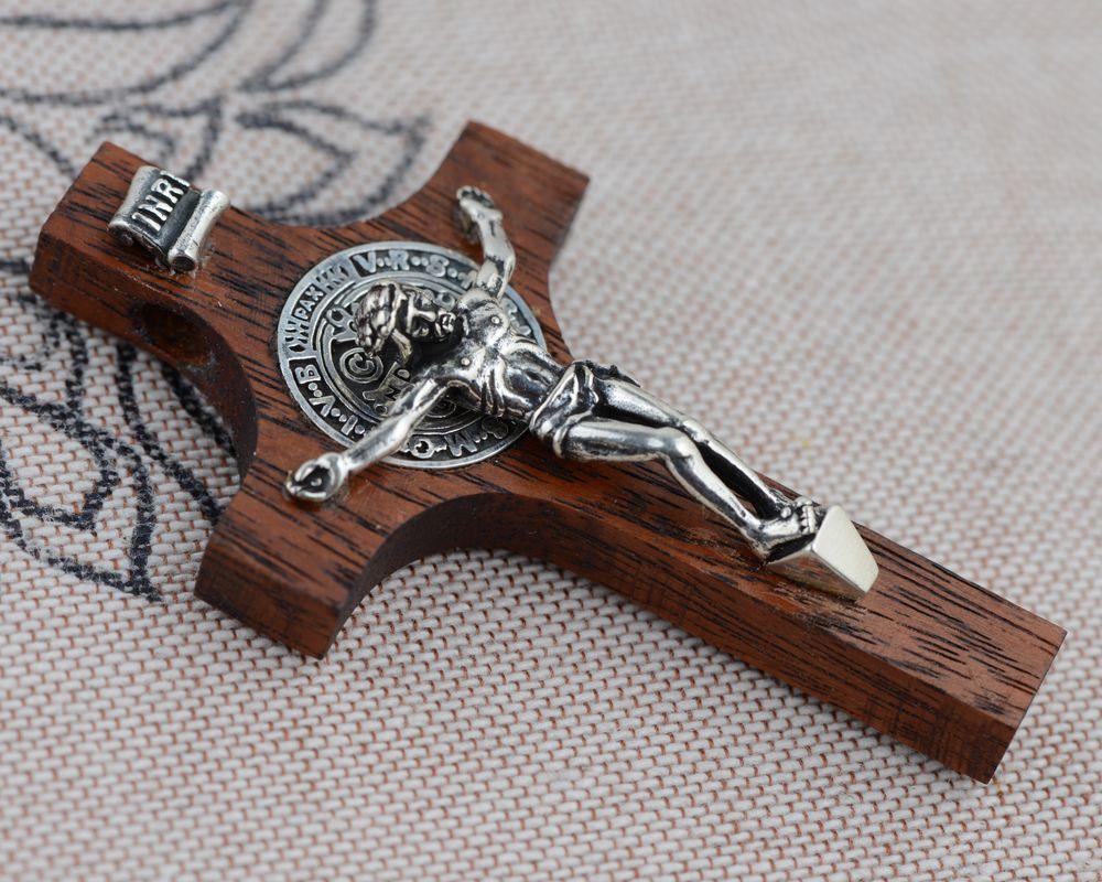 Croix pendentif S925 argent incrusté acajou pendentif pendentif unisexe jésus importé de thaïlande