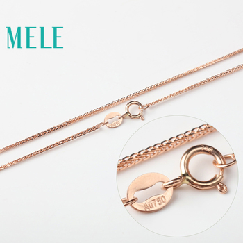 MELE real 18K gold Chopin chain for jewelry pendant,1mm yellow gold rose gold and platinum vegetarian necklace for accessories 5