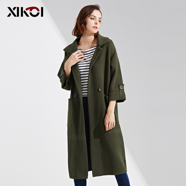 XIKOI New Woman Sweaters Fashion Long Cardigans Pocket Solid Lady ...