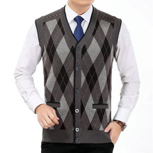 цена на Man Wool Cashmere Vest Soft Woollen Waistcoat Men V-neck Gilet Male Rhombus Pattern Kintted Vests Mens Gray Red Plaid Weskit Man