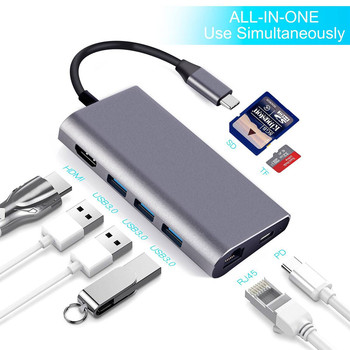 Type-C HUB USB-C To 3.0 HUB HDMI Thunderbolt3 Adapter 8 In 1 For MacBook For Samsung S9/Note 9 For Huawei P20 Pro Type C USB HUB