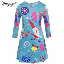 Ruiyige 2018 Autumn 3-8Y Children Girls Christmas Party Mini Dress Fancy  Santa Claus Snowflake Long Sleeve Stretch Short Vestido 140b2afae7a3