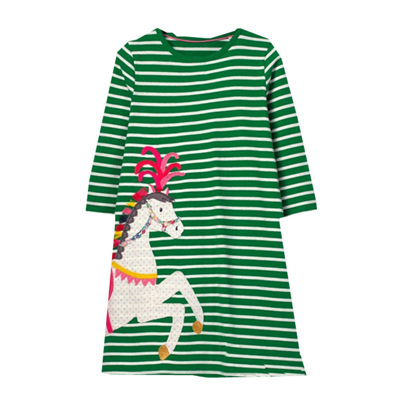 Toddler Girl Kid Spring Clothes Horse Stripe Print Princess Party  Dress Soft S9