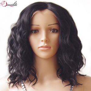 s-noilite 40cm Body Wave Bob Synthetic Hair Wig Natural Black Glueless Lace Front Wigs Heat Resistant for black