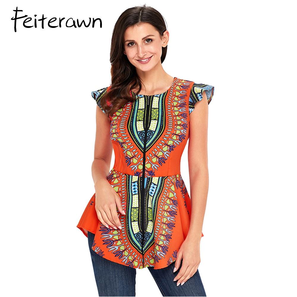 Feiterawn2018 Favourite Orange African Printed Zipper Front Peplum Summer Sleeveless Office Lady Tops Womens Elegant Shirt