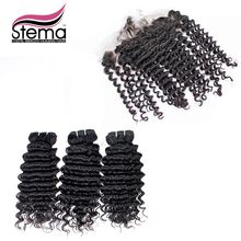 7A Grade  Stema Hair Unprocessed 100% Peruvian Virgin Hair Deep Wave 3pcs Hair Weft with 1pc Lace Frontal Closure Free Shipping