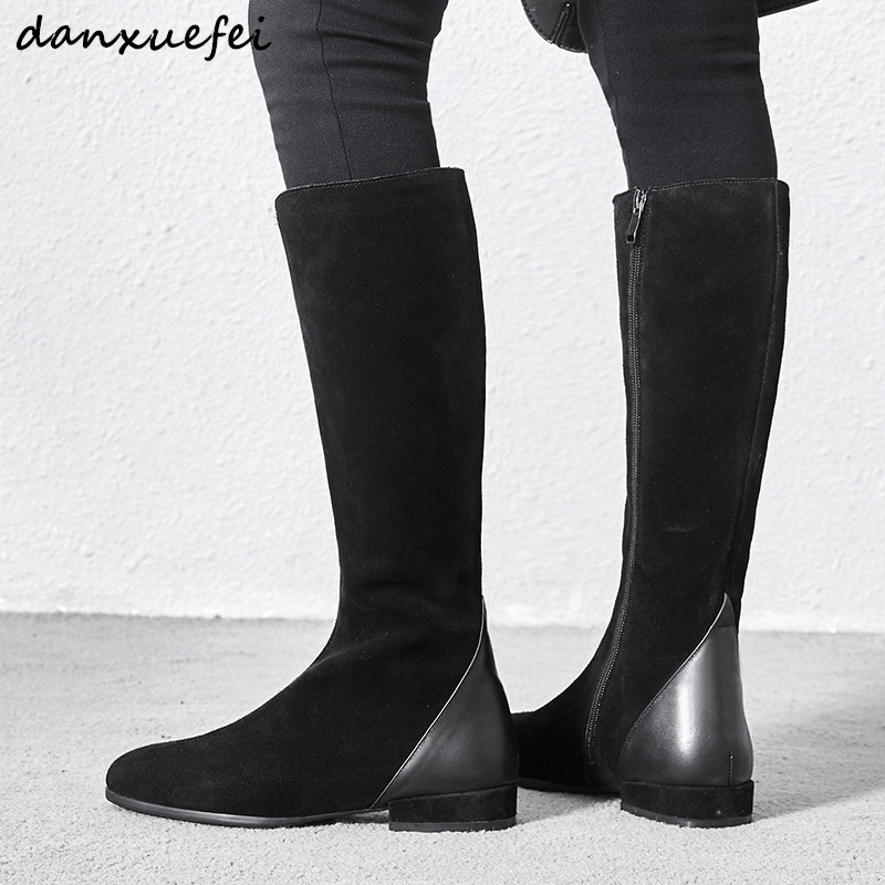Womens genuine suede leather winter knee high boots warm plush cold weather flats high boots leisure shoes for women plus sizeWomens genuine suede leather winter knee high boots warm plush cold weather flats high boots leisure shoes for women plus size