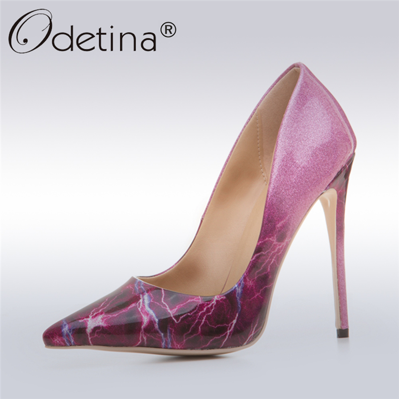 b7fc0ac3aaf Odetina 2017 Fashion Women High Heels 12CM Pointed Toe Ladies High Stiletto Dress  Pumps Purple Elegant Party Shoes Big Size 43