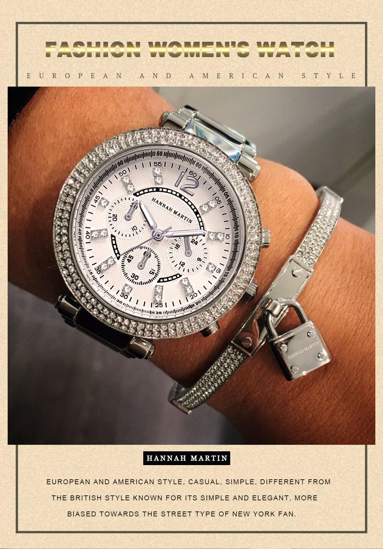Relógios Rosa de Ouro Rhinestone Senhoras Relógios