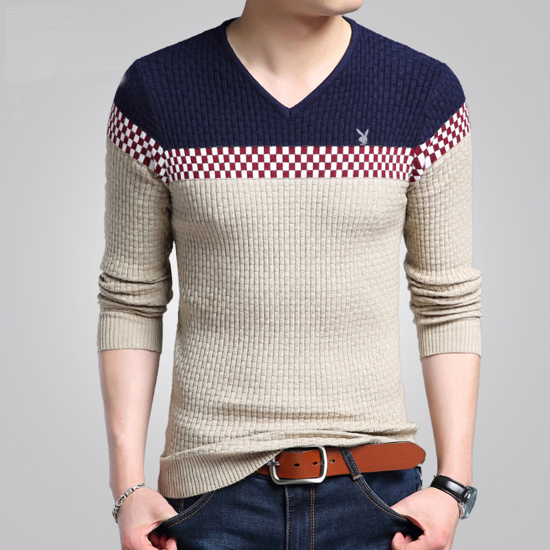 2017 Autumn Winter Warm Wool Sweaters Casual Hit Color Patchwork V-neck Pullover Men Brand Slim Fit Cotton Sweater