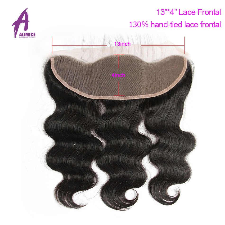 Peruvian Body Wave Bundles With Frontal Closure Human Hair Weave Bundles With Closure 13*4 Frontal With 3 Bundles Alimice Remy