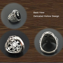 Solid 925 Sterling Silver Punk Style Black Onyx Ring